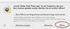 Adobe Flash Player - Sicherheits Dialog Fenster