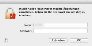 Adobe Flash Player - Kennwort Eingabe